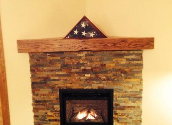 Valor Fireplace - Corner - Half Wall Autumn Leaf Align Stone - Basic Mantel Shelf - Flush Tile Hearth