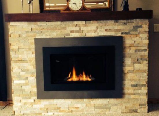 Valor Horizon Gas Fireplace - Sunset Gold Align Stone - Basic Mantel Shelf